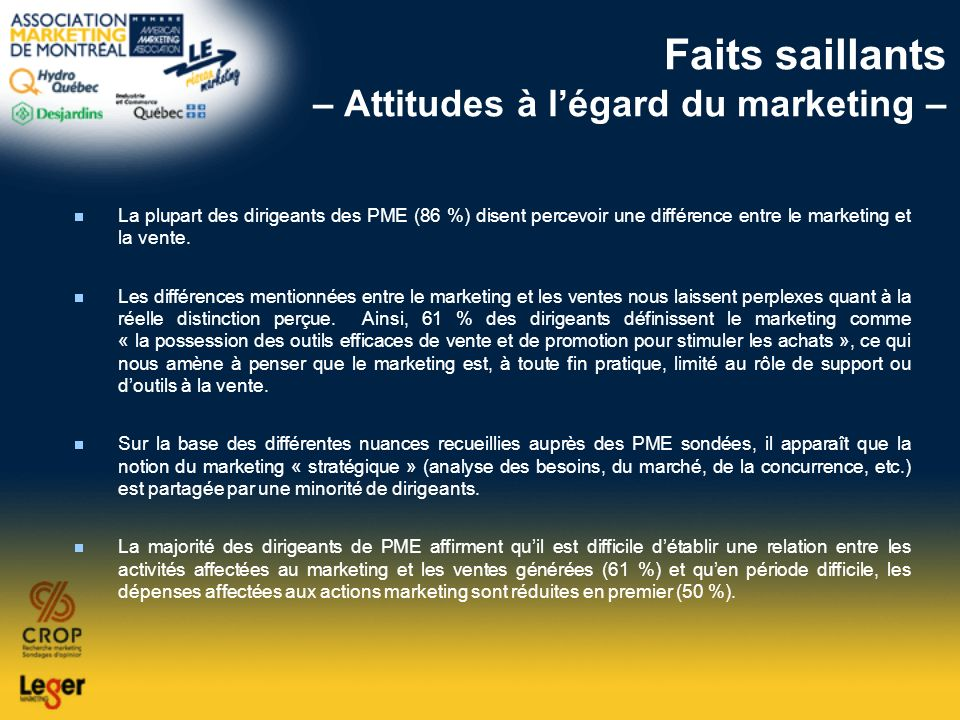 Faits saillants – Attitudes à l'égard du marketing –