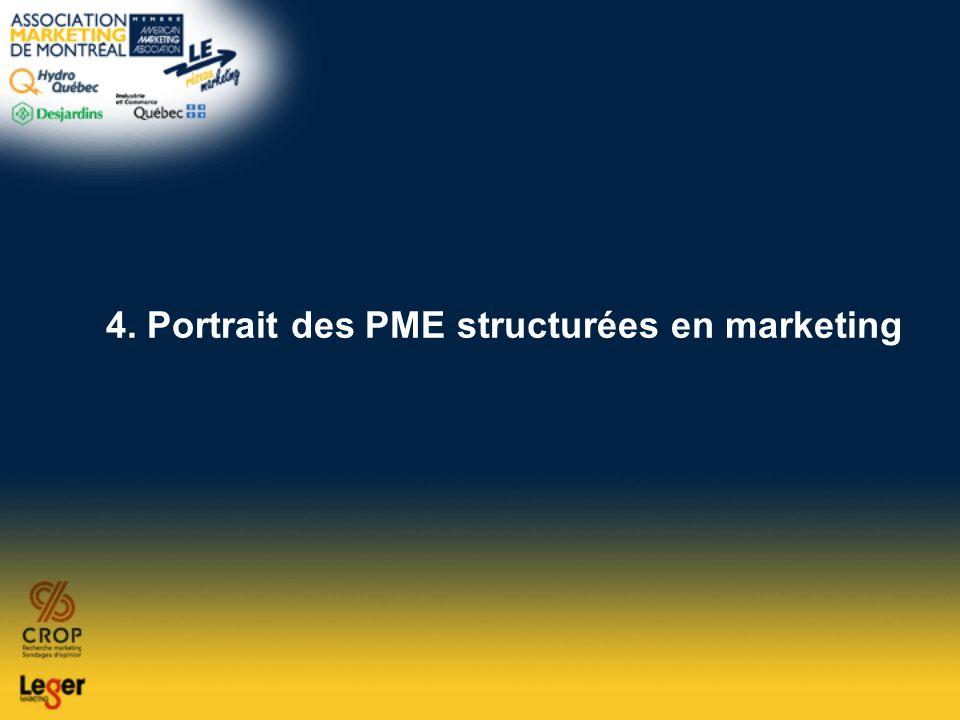 4. Portrait des PME structurées en marketing