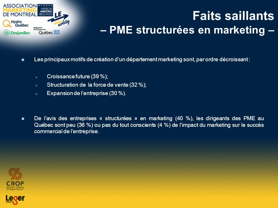 Faits saillants – PME structurées en marketing –