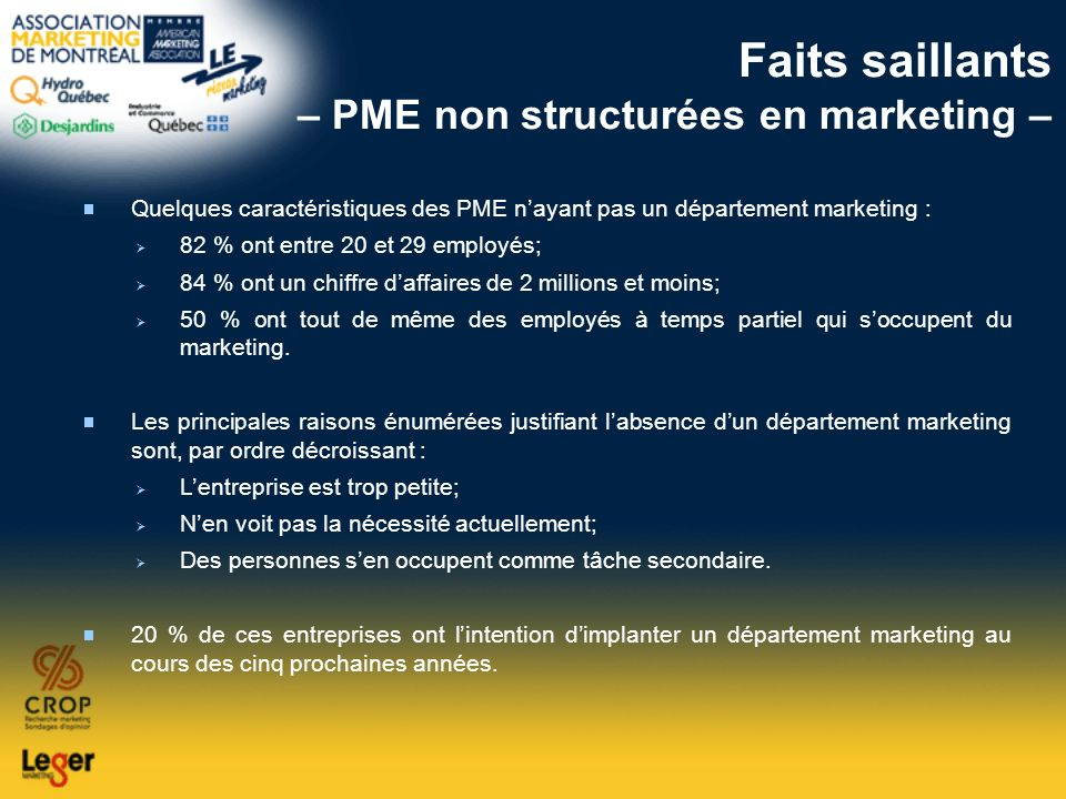 Faits saillants – PME non structurées en marketing –