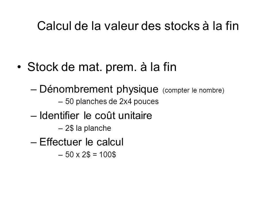 Calcul de la valeur des stocks à la fin