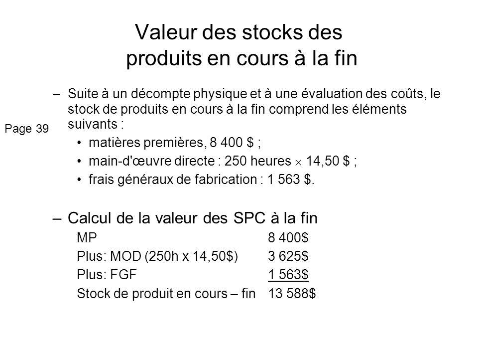 Valeur des stocks des produits en cours à la fin