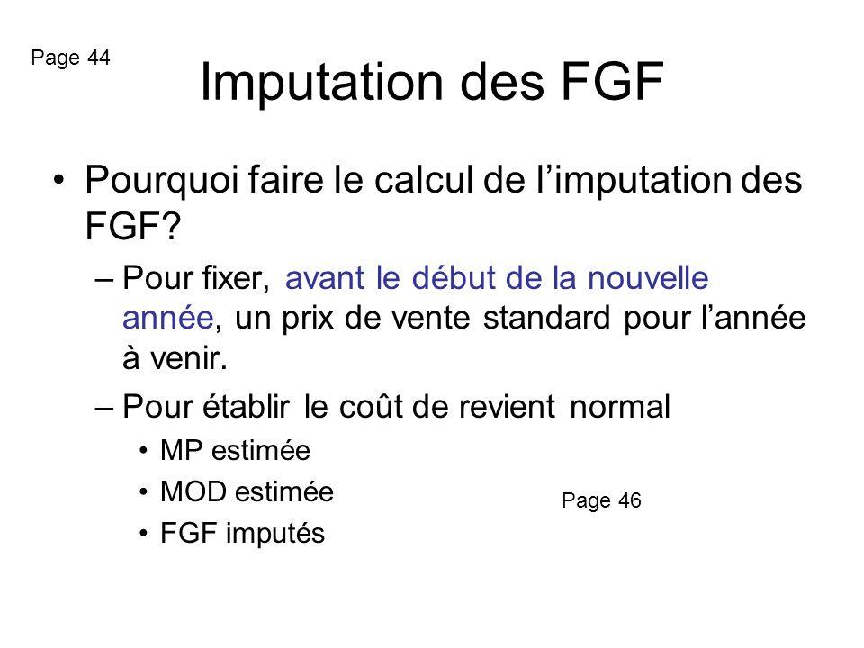 Imputation des FGF Pourquoi faire le calcul de l'imputation des FGF
