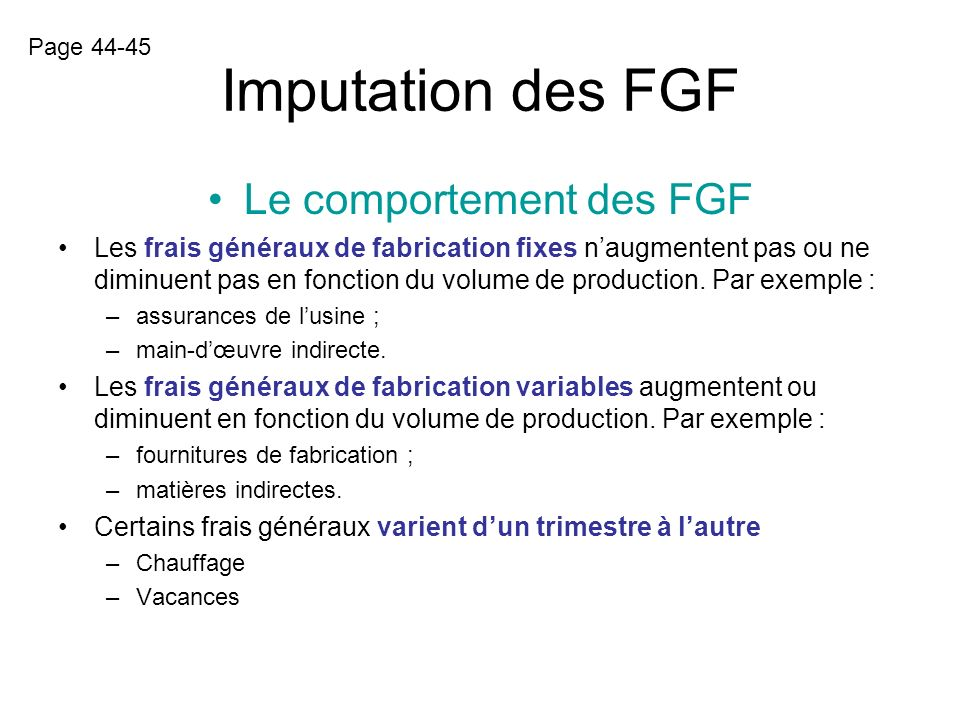 Le comportement des FGF