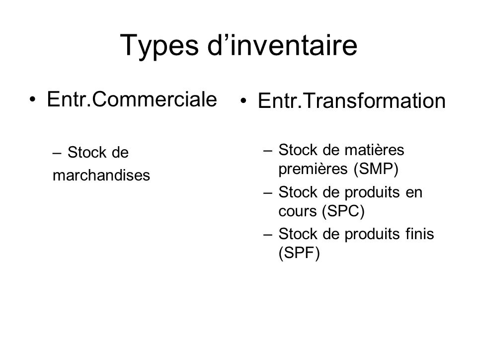 Types d'inventaire Entr.Commerciale Entr.Transformation Stock de