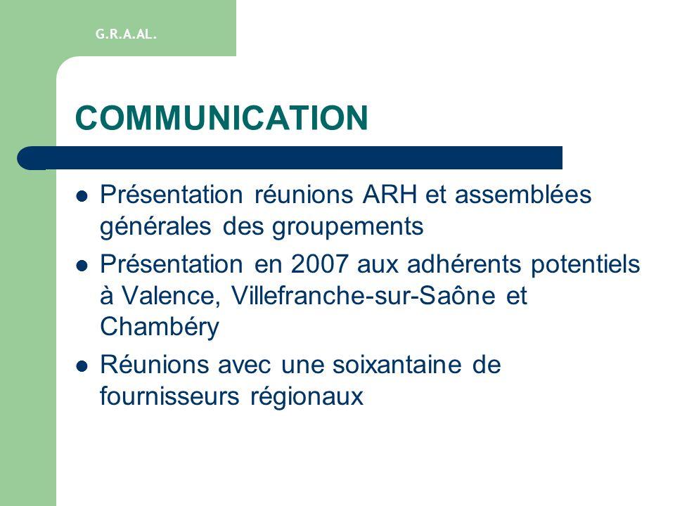 G.R.A.AL. COMMUNICATION. Présentation réunions ARH et assemblées générales des groupements.