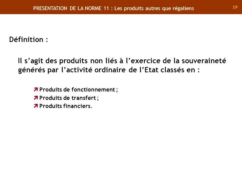 PRESENTATION DE LA NORME 11 : Les produits autres que régaliens