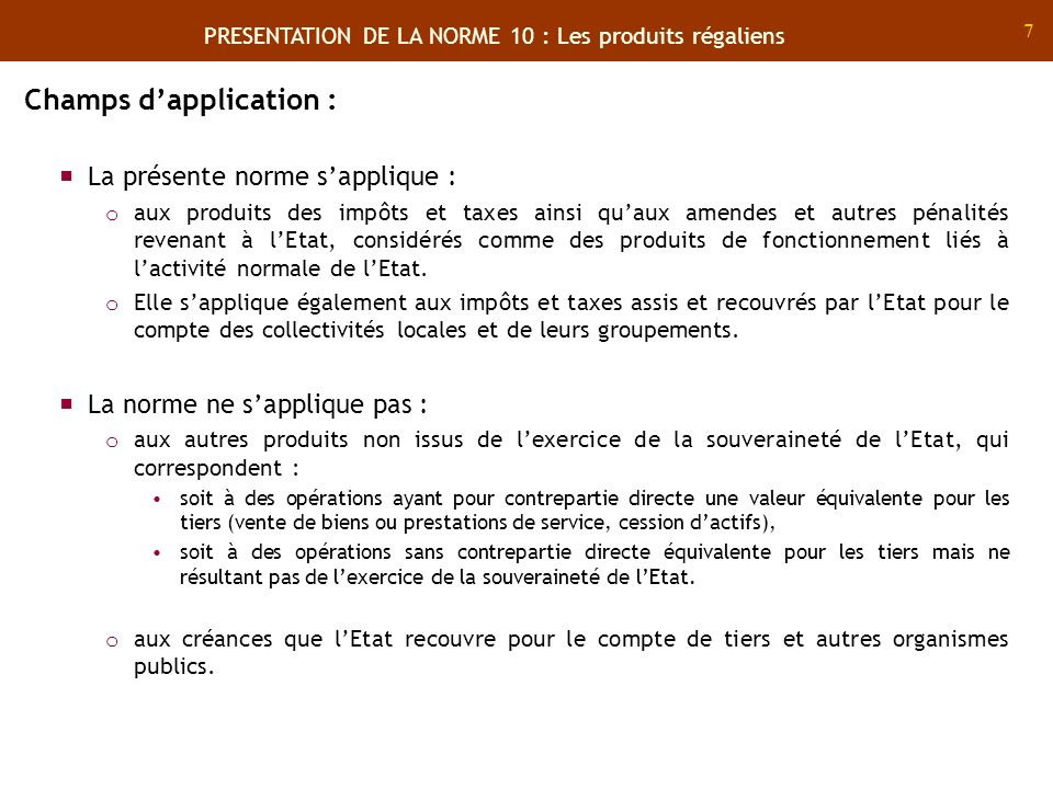 Champs d'application :