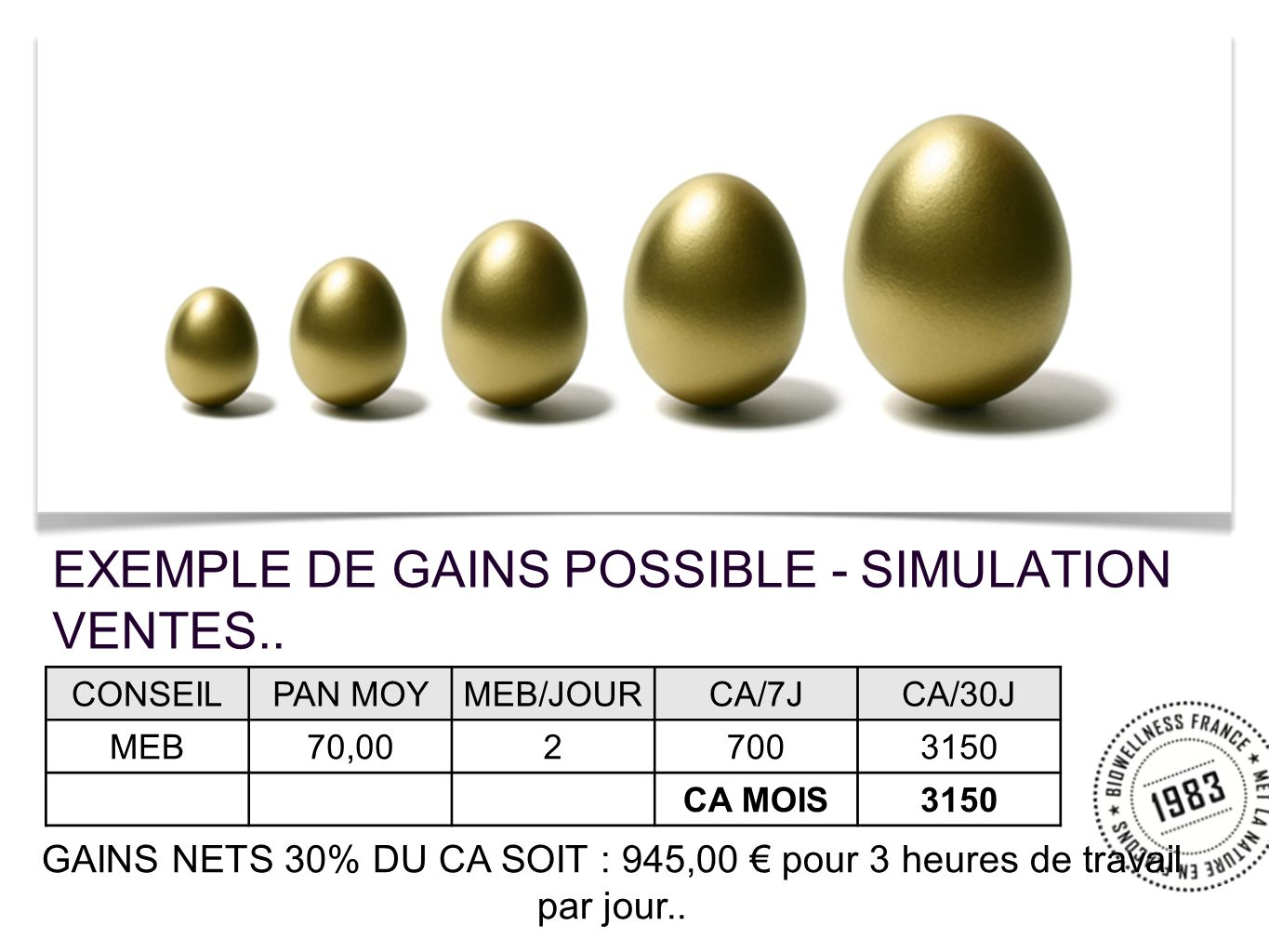 EXEMPLE DE GAINS POSSIBLE - SIMULATION VENTES..