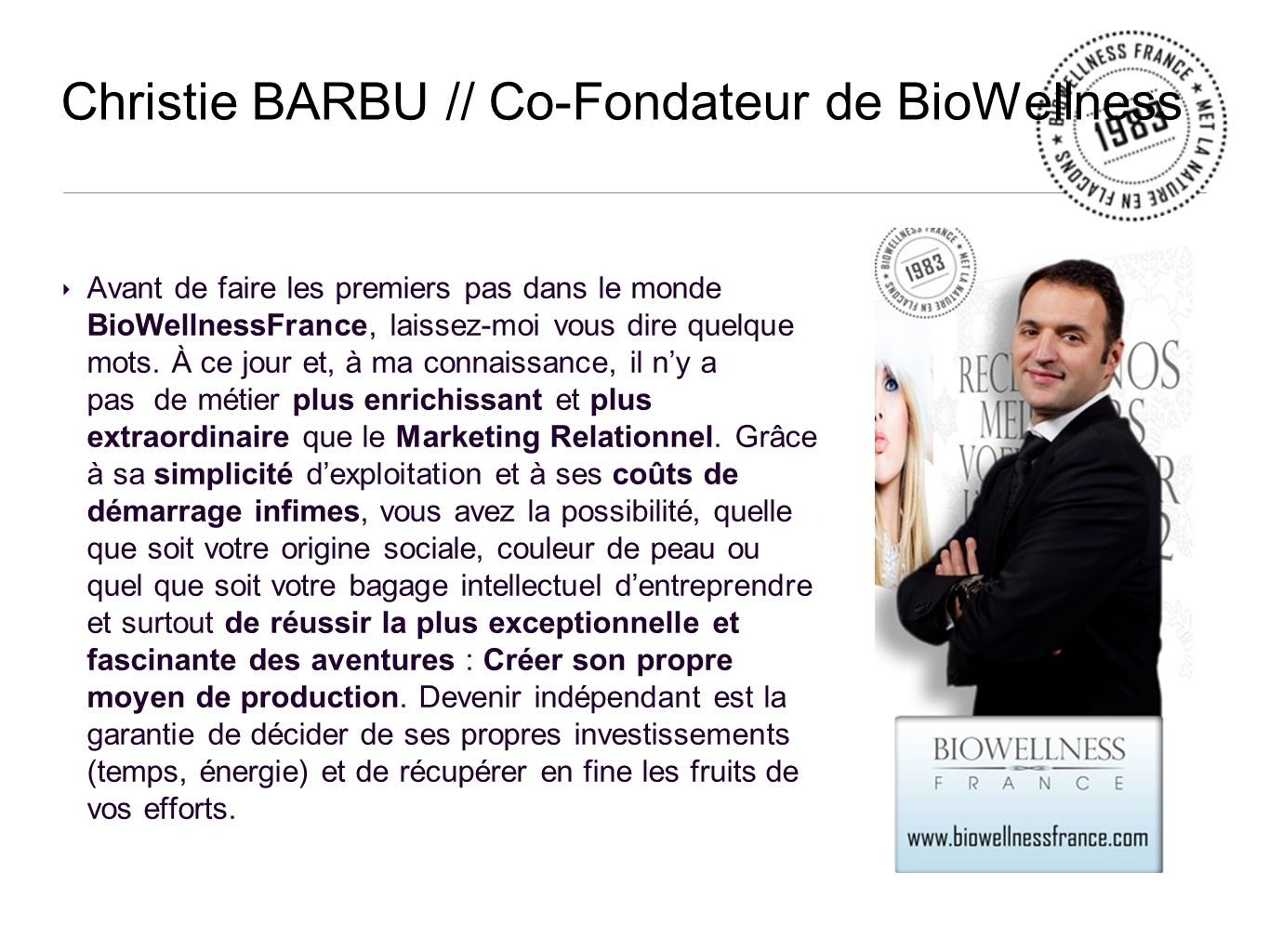 Christie BARBU // Co-Fondateur de BioWellness