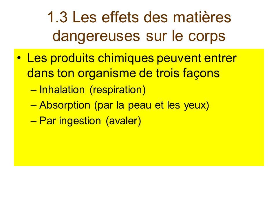 1.3 Les effets des matières dangereuses sur le corps