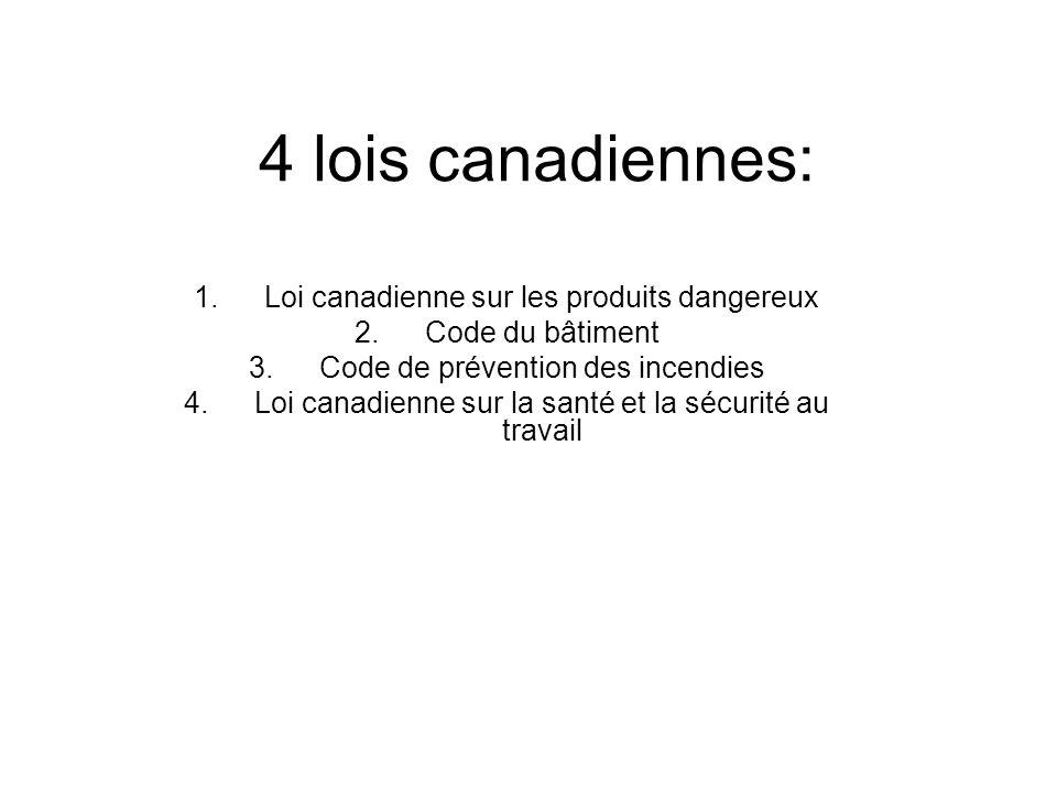 4 lois canadiennes: Loi canadienne sur les produits dangereux