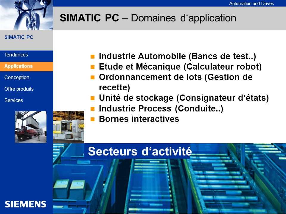 SIMATIC PC – Domaines d'application