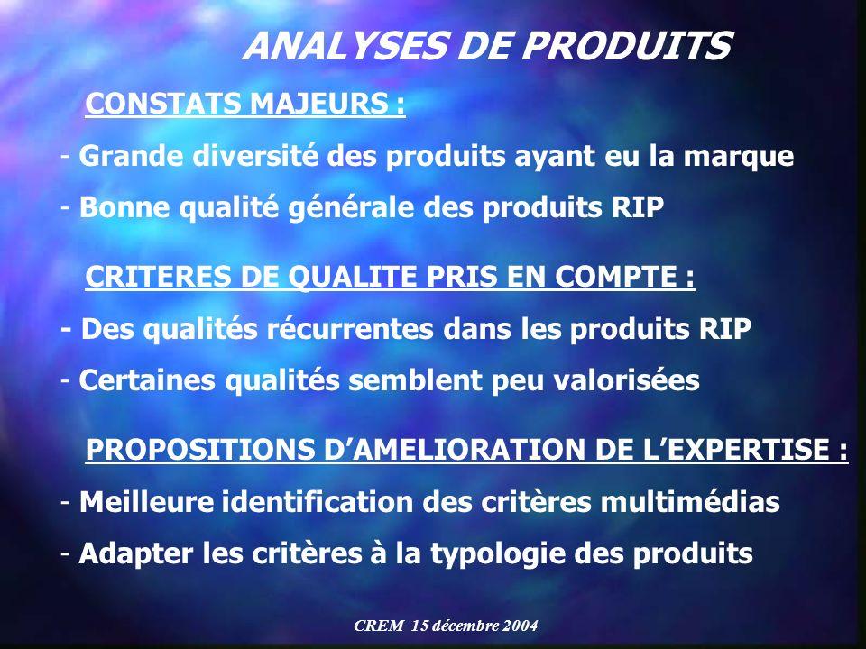 ANALYSES DE PRODUITS CONSTATS MAJEURS :
