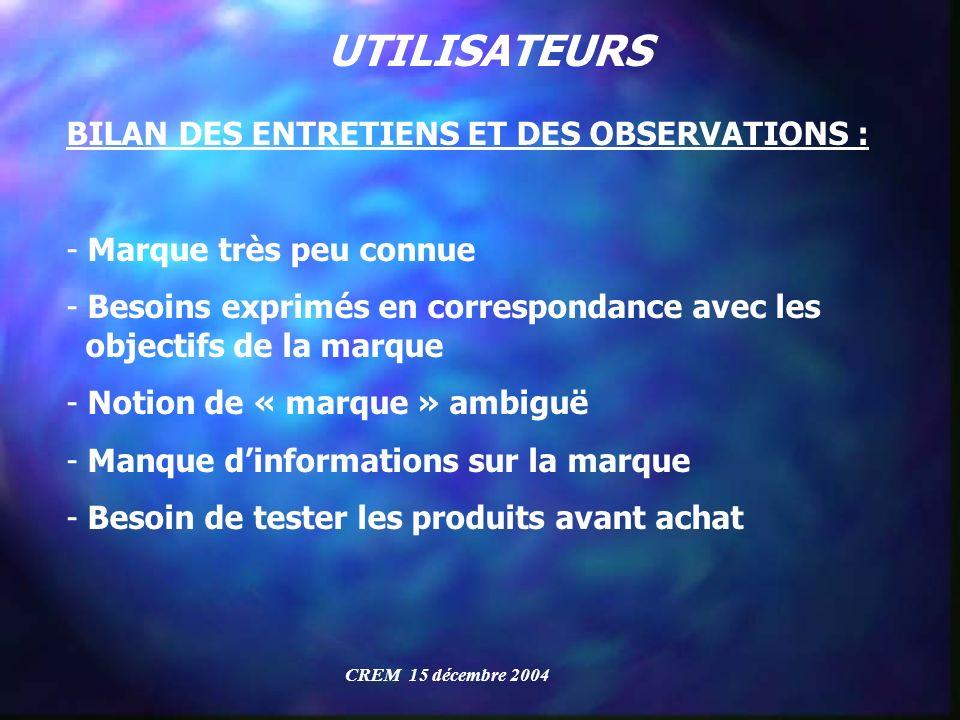 UTILISATEURS BILAN DES ENTRETIENS ET DES OBSERVATIONS :