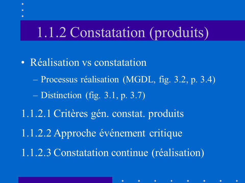 1.1.2 Constatation (produits)
