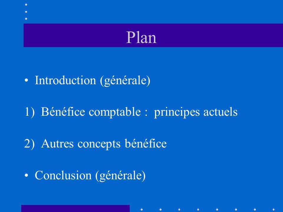 Plan Introduction (générale) 1) Bénéfice comptable : principes actuels
