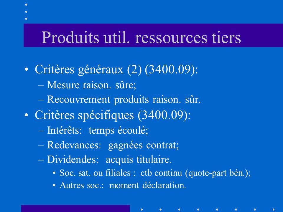 Produits util. ressources tiers