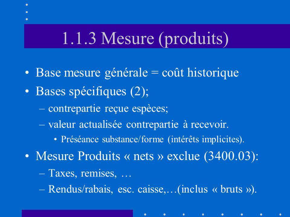 1.1.3 Mesure (produits) Base mesure générale = coût historique