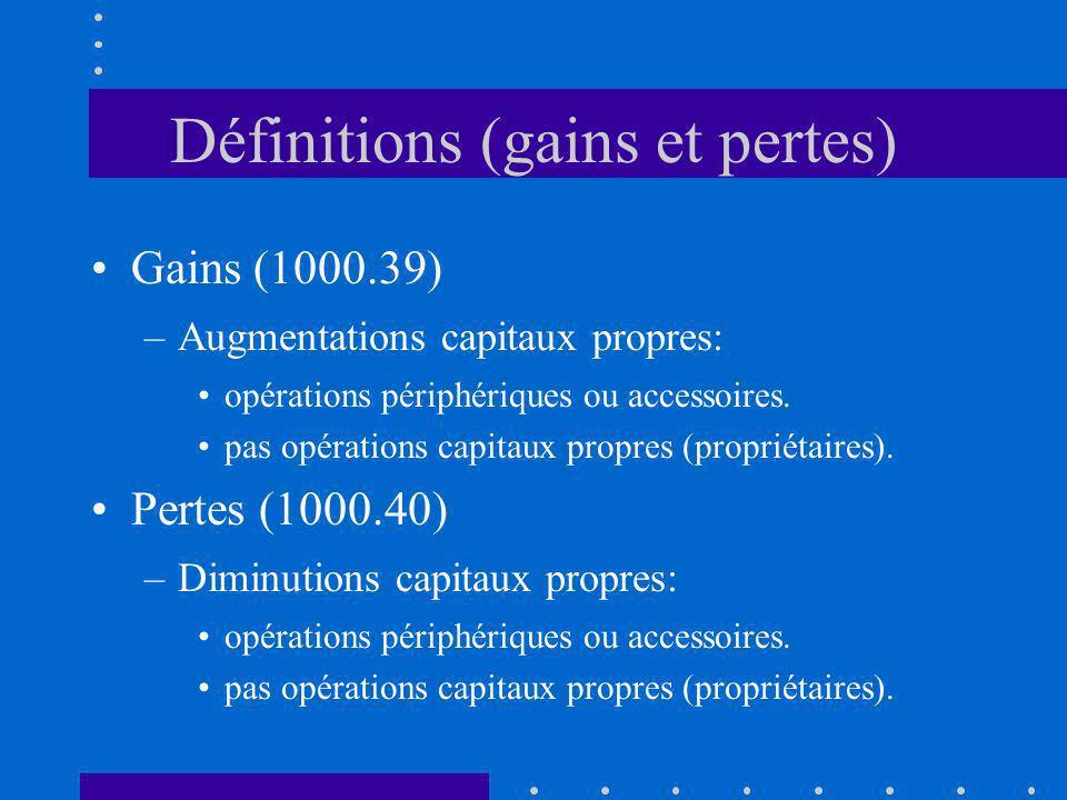 Définitions (gains et pertes)