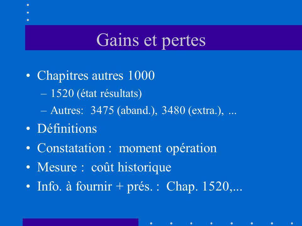 Gains et pertes Chapitres autres 1000 Définitions