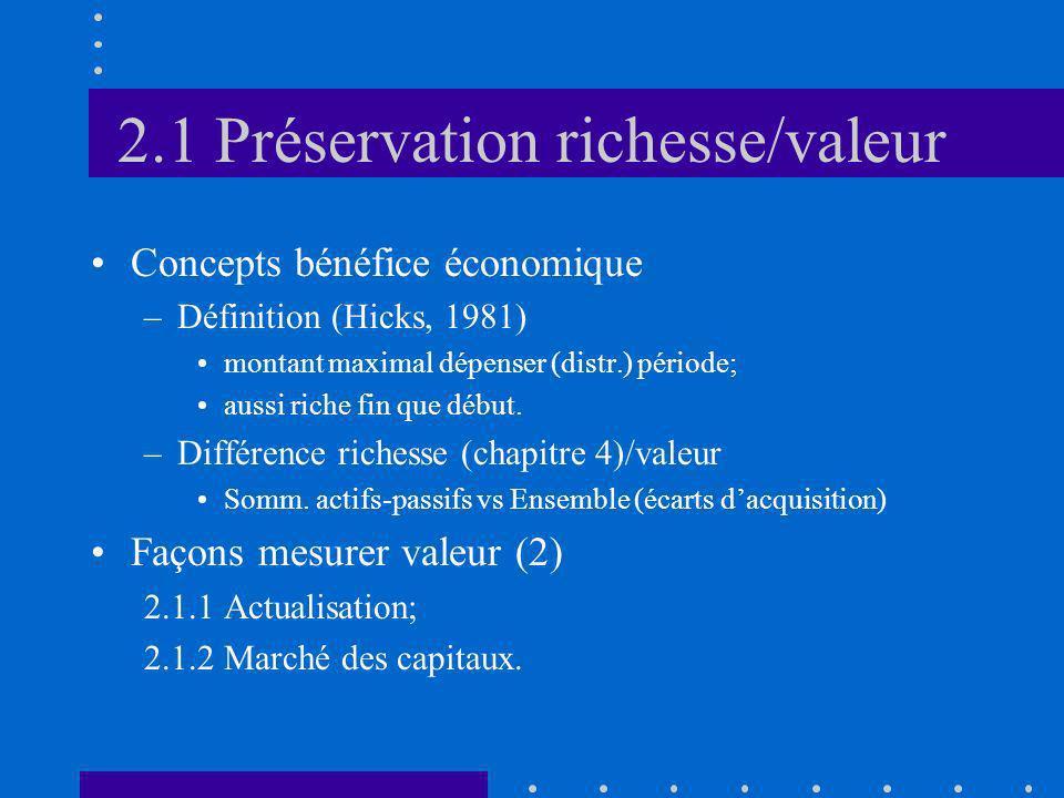 2.1 Préservation richesse/valeur