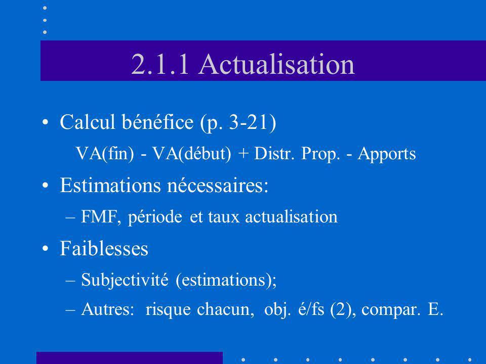 2.1.1 Actualisation Calcul bénéfice (p. 3-21) Estimations nécessaires:
