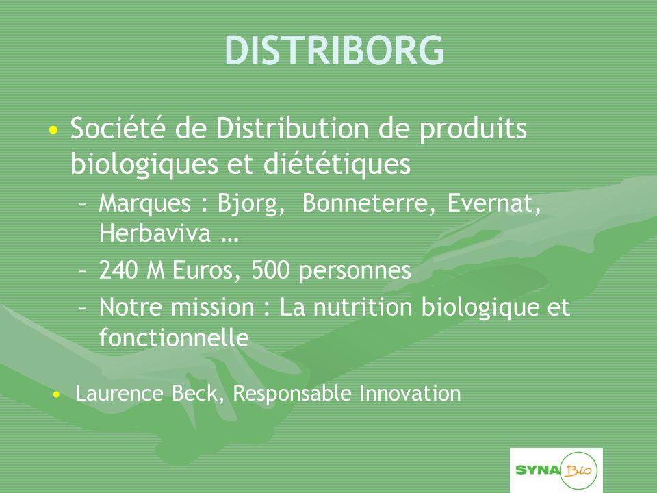 DISTRIBORG Société de Distribution de produits biologiques et diététiques. Marques : Bjorg, Bonneterre, Evernat, Herbaviva …