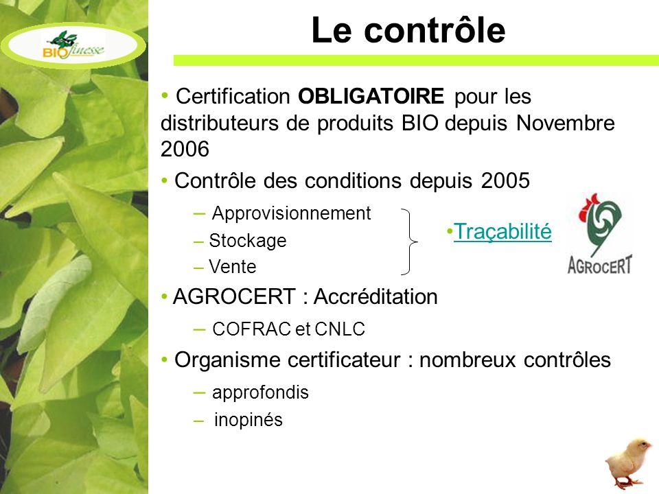 Le contrôle Certification OBLIGATOIRE pour les distributeurs de produits BIO depuis Novembre 2006. Contrôle des conditions depuis 2005.