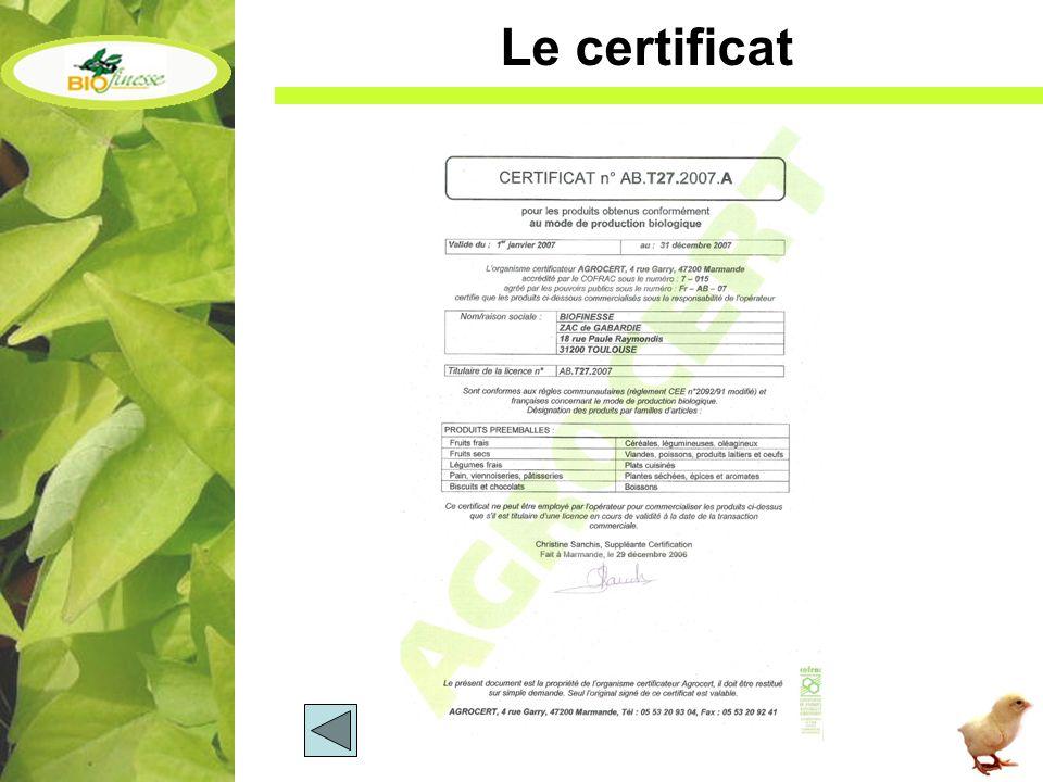 Le certificat