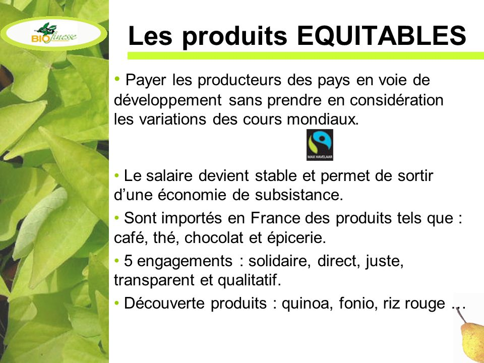 Les produits EQUITABLES