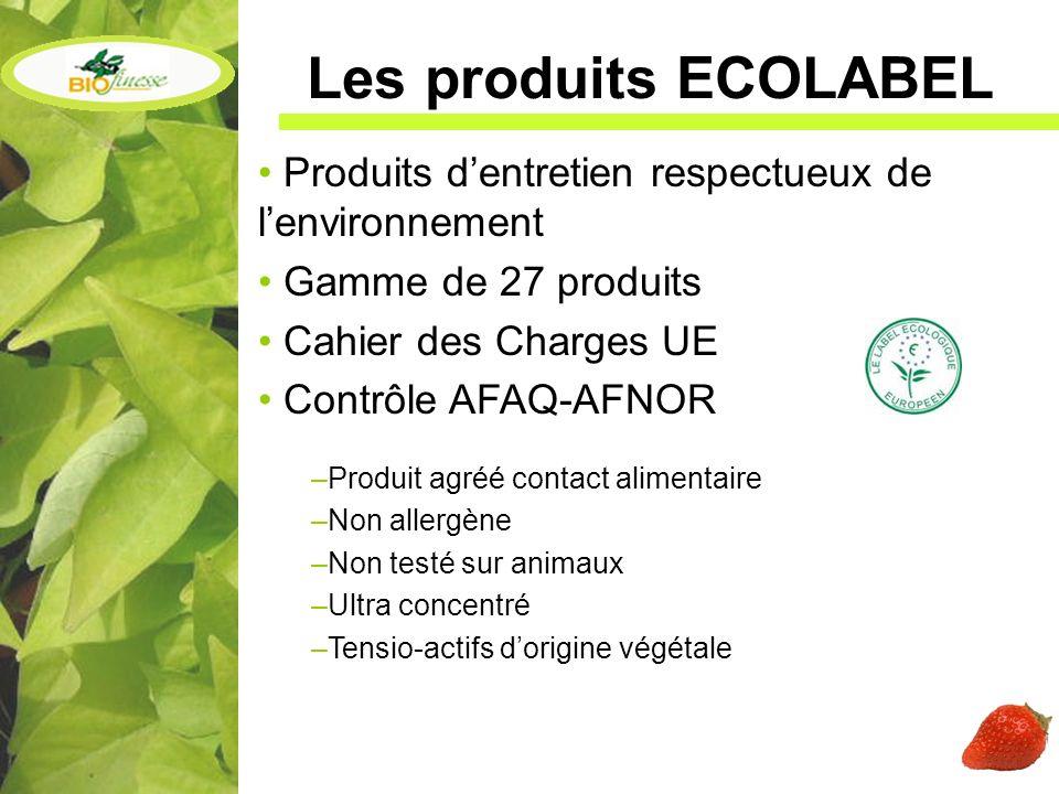 Les produits ECOLABEL Produits d'entretien respectueux de l'environnement. Gamme de 27 produits. Cahier des Charges UE.