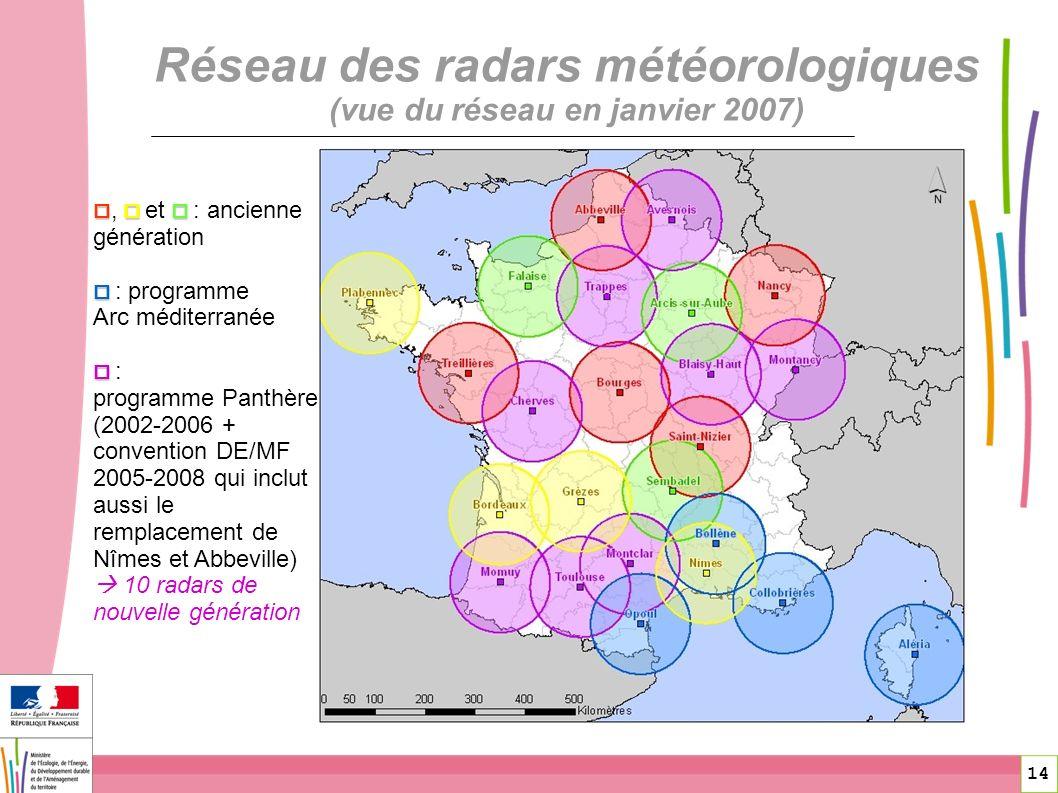 Réseau des radars météorologiques (vue du réseau en janvier 2007)