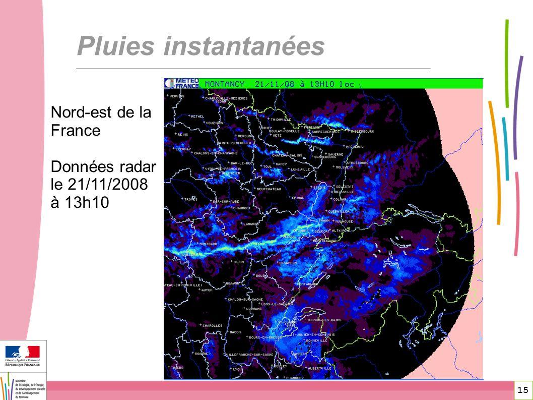 Pluies instantanées Nord-est de la France
