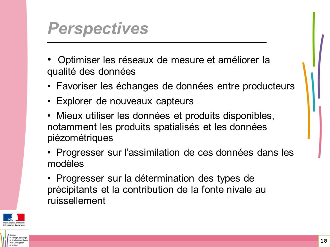 Perspectives Optimiser les réseaux de mesure et améliorer la qualité des données. Favoriser les échanges de données entre producteurs.
