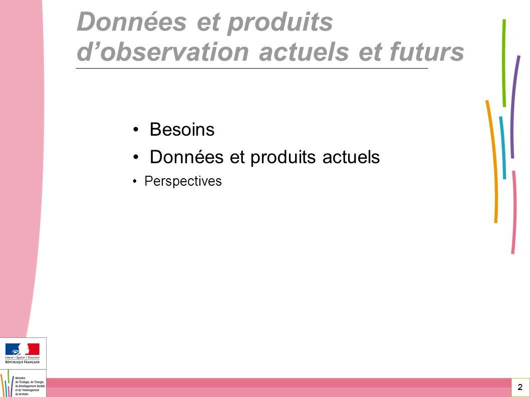 Données et produits d'observation actuels et futurs
