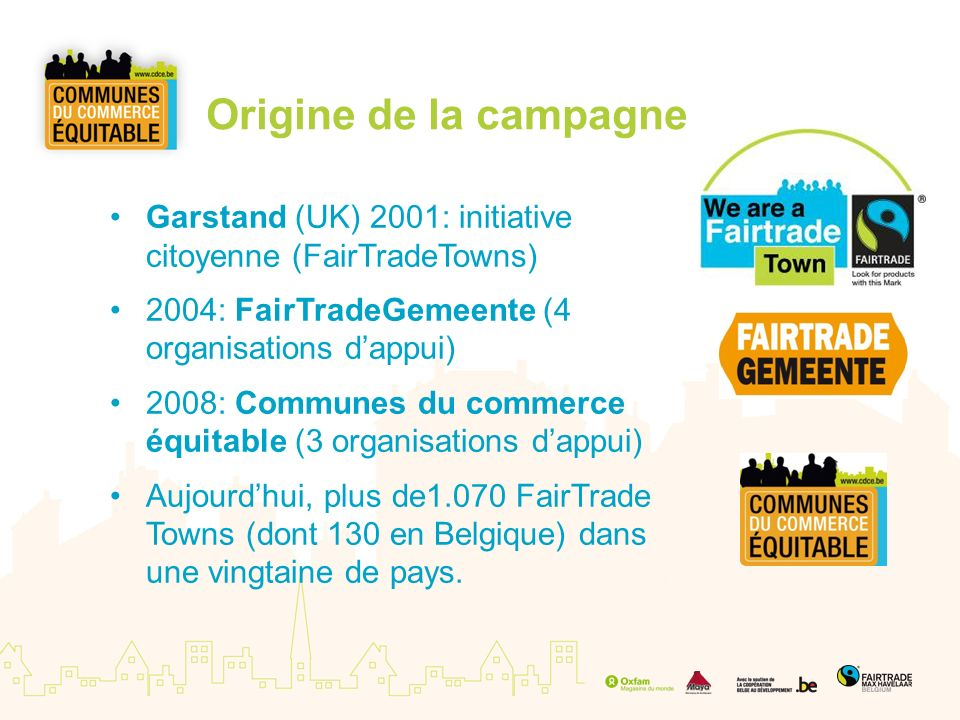 Origine de la campagne Garstand (UK) 2001: initiative citoyenne (FairTradeTowns) 2004: FairTradeGemeente (4 organisations d'appui)