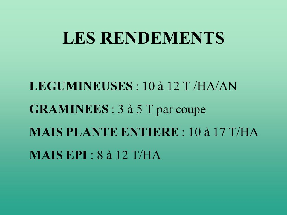 LES RENDEMENTS LEGUMINEUSES : 10 à 12 T /HA/AN