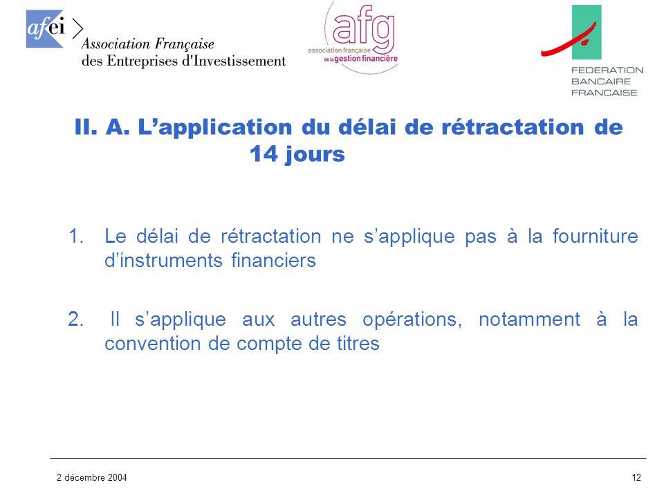 II. A. L'application du délai de rétractation de 14 jours