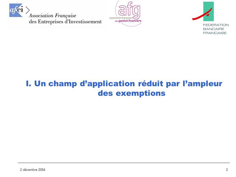 I. Un champ d'application réduit par l'ampleur des exemptions