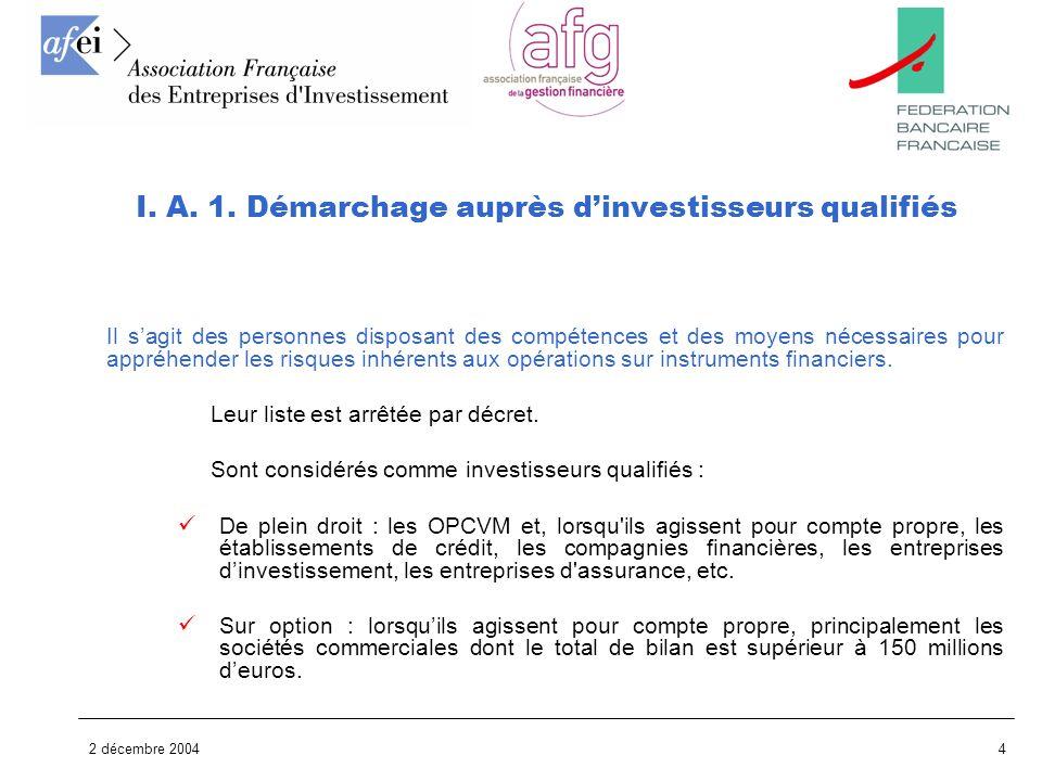 I. A. 1. Démarchage auprès d'investisseurs qualifiés
