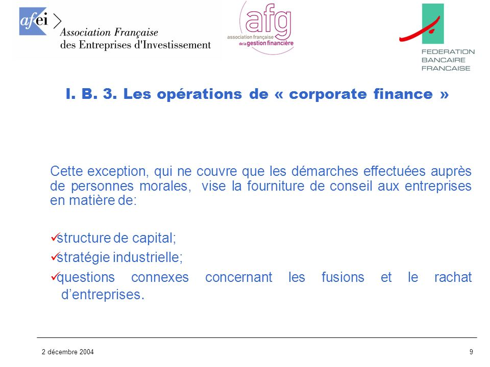 I. B. 3. Les opérations de « corporate finance »