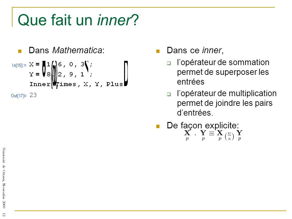 Que fait un inner Dans Mathematica: Dans ce inner,