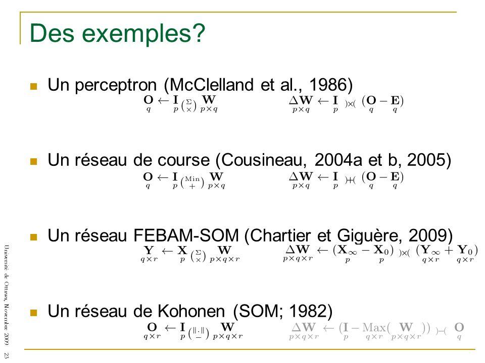 Des exemples Un perceptron (McClelland et al., 1986)