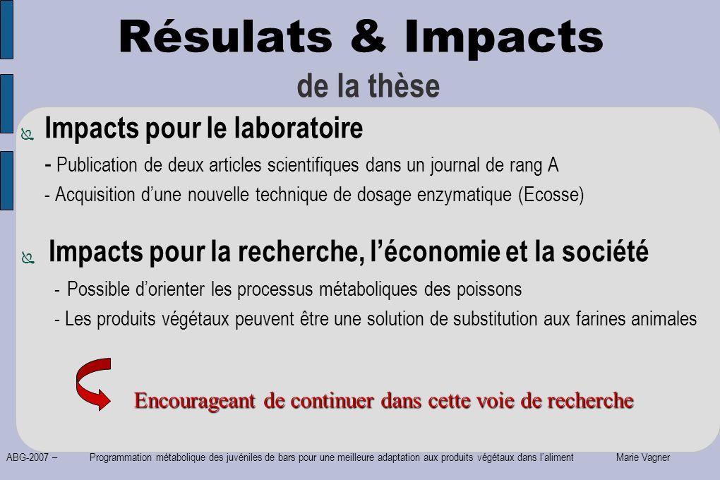Résulats & Impacts de la thèse