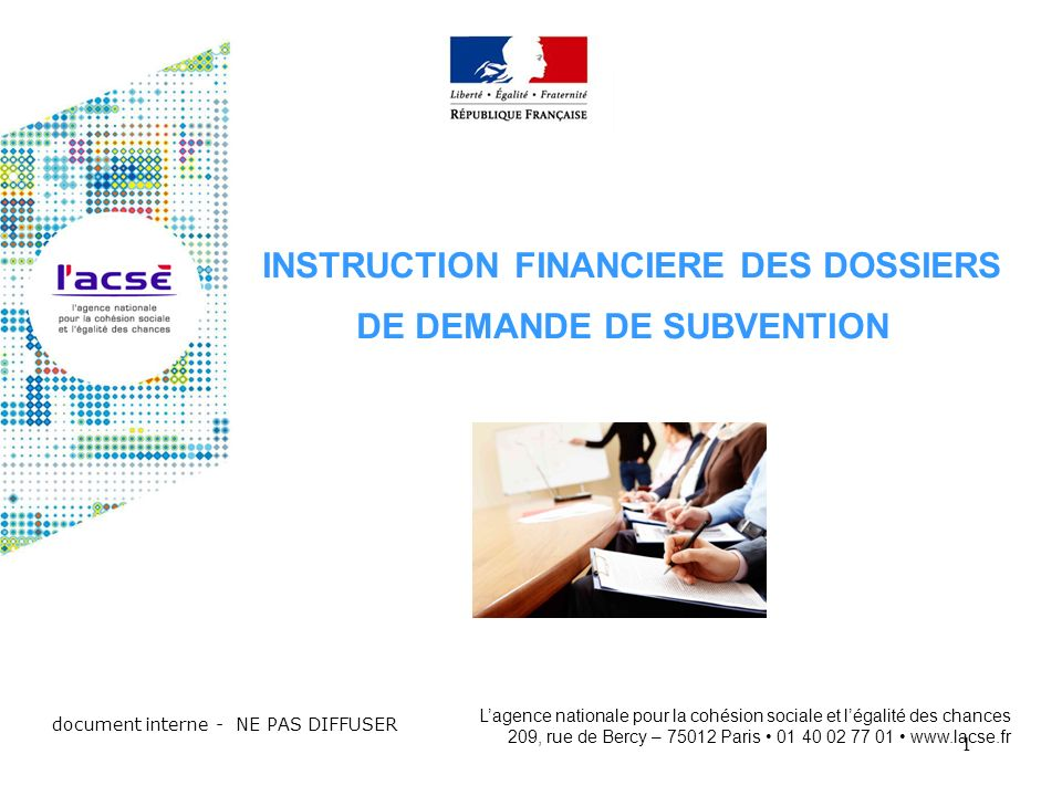 INSTRUCTION FINANCIERE DES DOSSIERS DE DEMANDE DE SUBVENTION