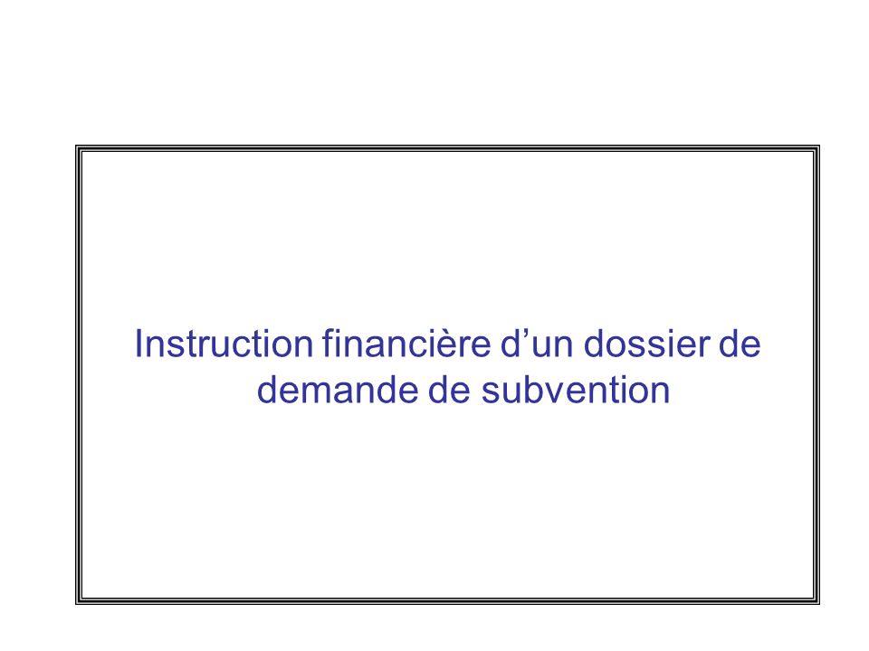 Instruction financière d'un dossier de demande de subvention