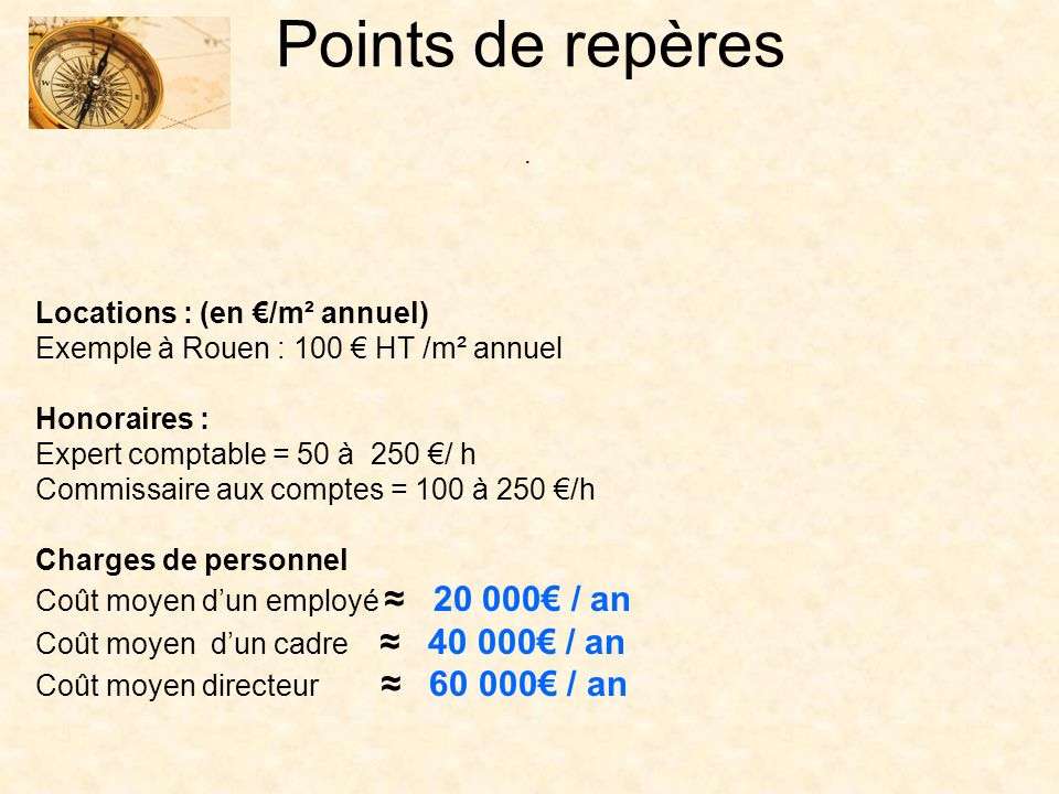 Points de repères . Locations : (en €/m² annuel)