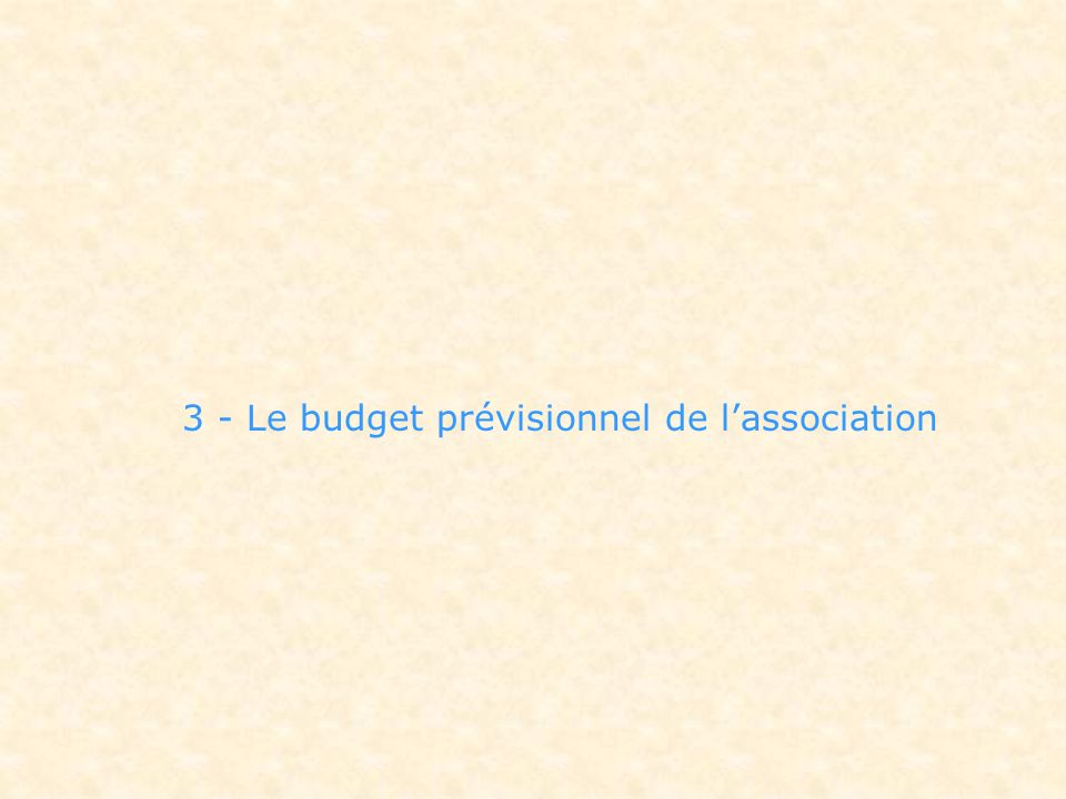 3 - Le budget prévisionnel de l'association