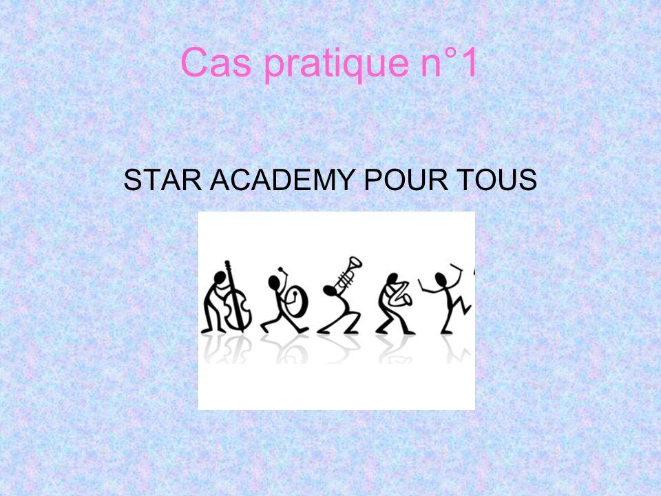 Cas pratique n°1 STAR ACADEMY POUR TOUS Distribution du cas pratique